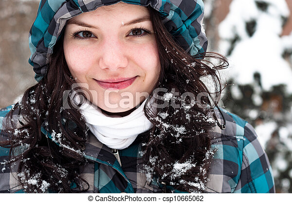 Closeup photo of a young adult at winter - csp10665062