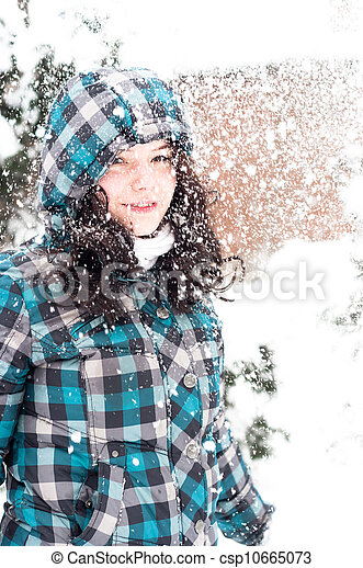 Closeup photo of a young adult at winter - csp10665073