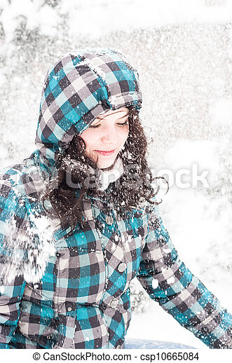 Closeup photo of a young adult at winter - csp10665084
