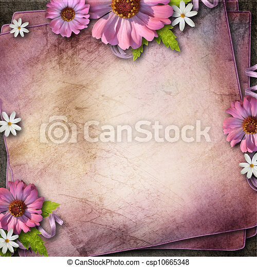 Vintage background with  flowers - csp10665348