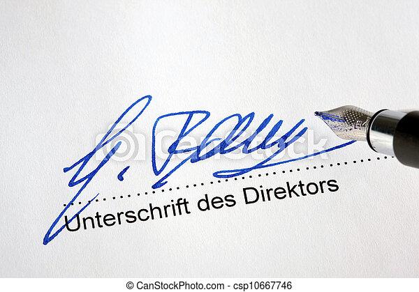 firma, un, funcionario, documento - csp10667746