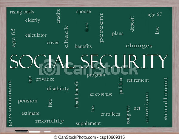 Social Security Word Cloud Concept on a Blackboard - csp10669315