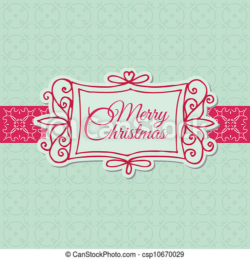 Retro Christmas Card - for scrapbook, design, invitation, greetings - in vector - csp10670029