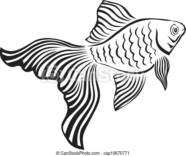 Goldfish Clip Art Black And White Goldfish - Line art image of a