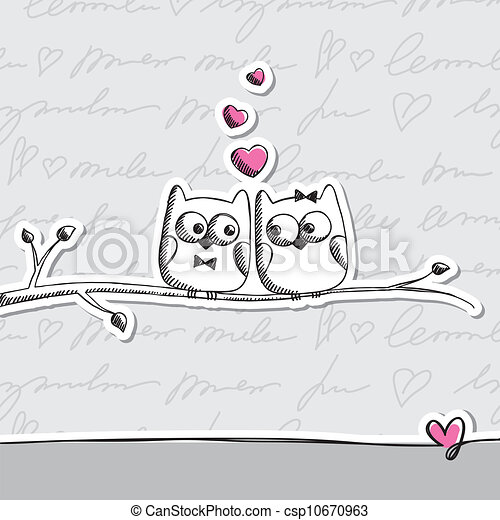 hand drawn owls - csp10670963