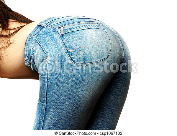 Stock Photo of womans jeans - woman bending over in jeans ...