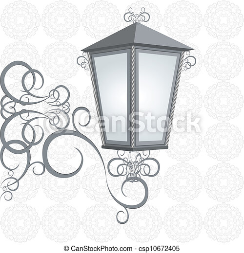 Vector Clipart of Lantern - Old street lamp on the decorative ...