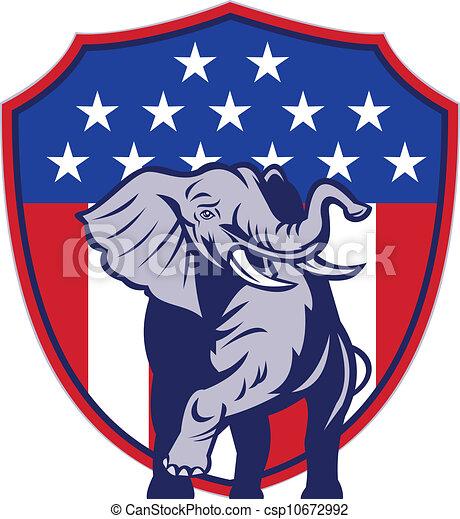 Republican Elephant Mascot USA Flag - csp10672992