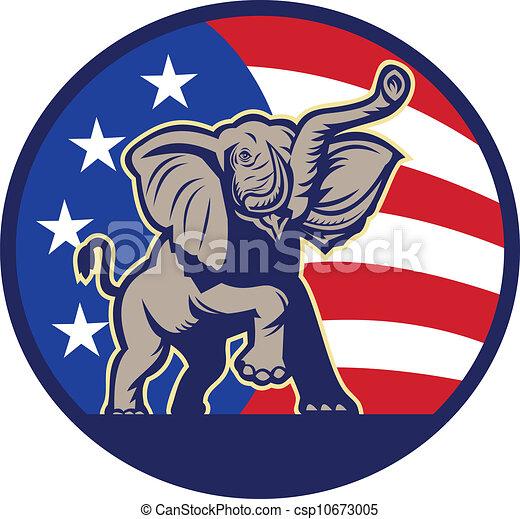 Republican Elephant Mascot USA Flag - csp10673005