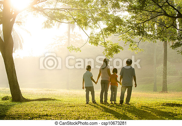 a family walking in the park - csp10673281