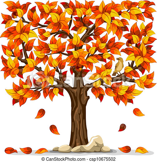 Vector Clipart Of Autumn Tree With Bird Isolated On White