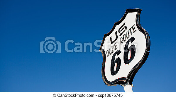 An old, nostalgic  sign on historic Route 66 - csp10675745