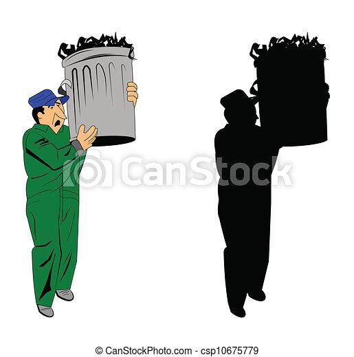 Garbage Can Drawing Garbage Man Holding a Trash