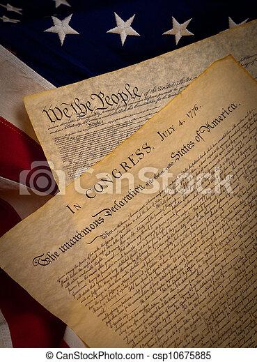 vereint, verfassung, Staaten, Fahne, hintergrund, erklärung, Unabhängigkeit - csp10675885