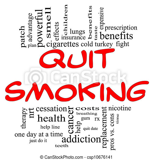 Drawing of Quit Smoking Word Cloud Concept in red & black - Quit ...
