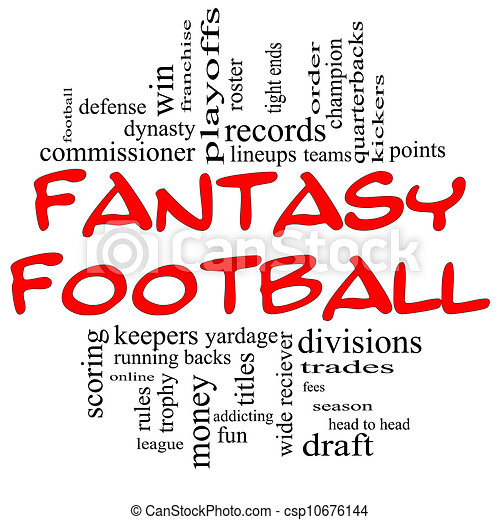 Fantasy Football Word Cloud Concept in Red & Black - csp10676144