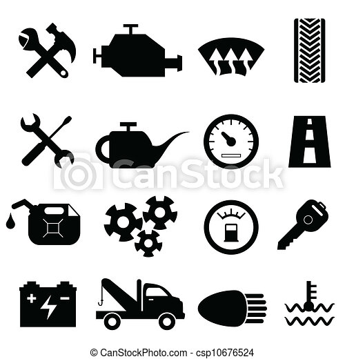 illustration vecteur de voiture entretien r paration ic nes voiture csp10676524. Black Bedroom Furniture Sets. Home Design Ideas