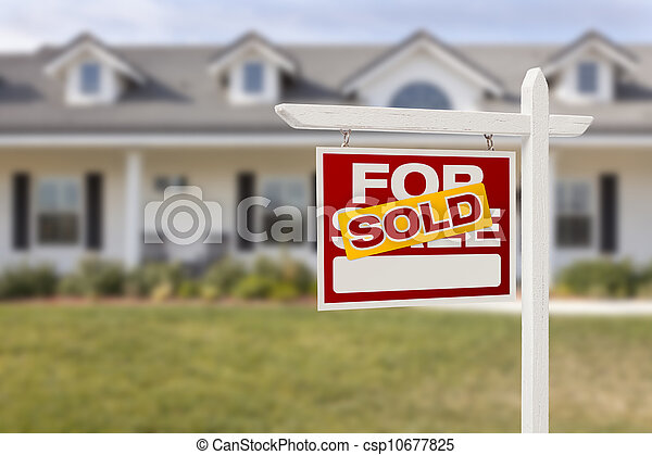 Red Sold For Sale Real Estate Sign and House - csp10677825