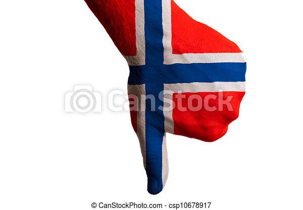 管理, 拇指, 政治, 國家, 文化, 消極, 手, 下來, 旗, 社會, 國家, 挪威, 符號, 姿態, 上色 - csp10678917