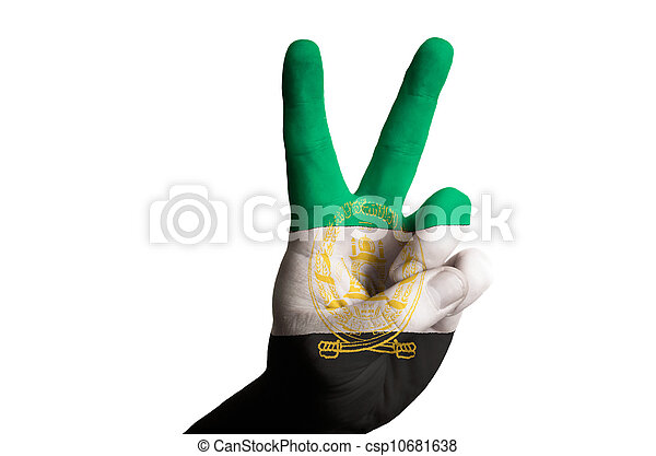 afghanistan national flag two finger up gesture for victory and - csp10681638
