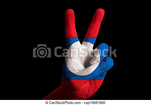 laos national flag two finger up gesture for victory and winner - csp10681660