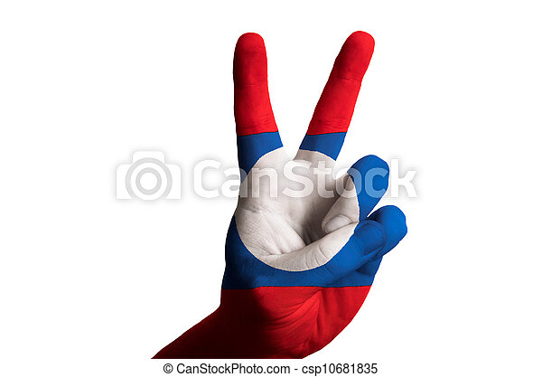 laos national flag two finger up gesture for victory and winner - csp10681835