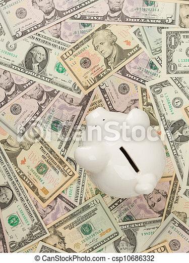 Piggy bank on dollar bills - csp10686332
