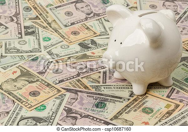 Piggy bank on dollar bills - csp10687160