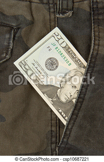 Macro shot of trendy jeans with american 20 dollar bill - csp10687221