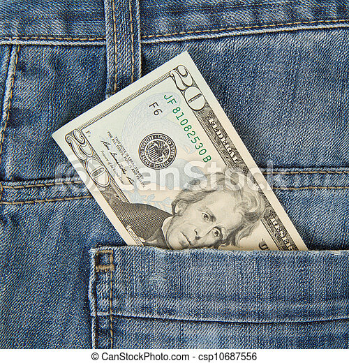Macro shot of trendy jeans with american 20 dollar bill - csp10687556