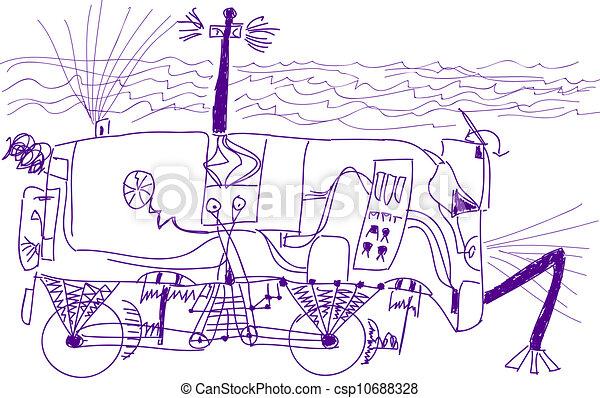 Vector illustraie van onderwater zeven oud jongen schets robot auto jaar csp10688328 for Deco slaapkamer jongen jaar oud