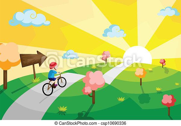Kid riding bicycle - csp10690336