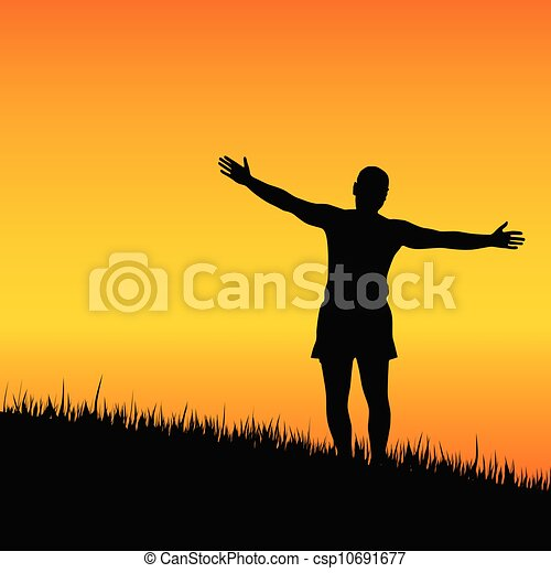 man stand with open arms at sunset - csp10691677