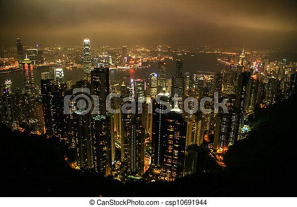 Aerial view of Hong Kong, China, Asia - csp10691944