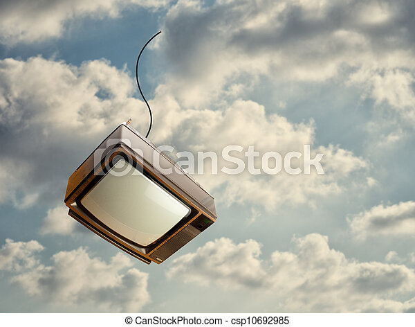 Old Television Falling From Sky - csp10692985