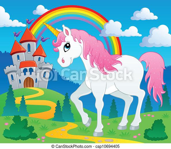 Fairy tale unicorn theme image 2 - csp10694405