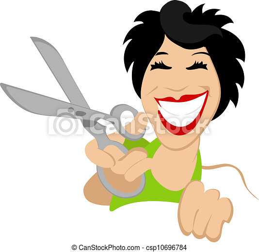 Woman holding a scissor - csp10696784