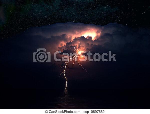 Lightning over the sea, storm, night