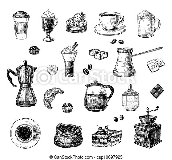Vector Illustration Of Coffee Set Set Of Hand Drawn