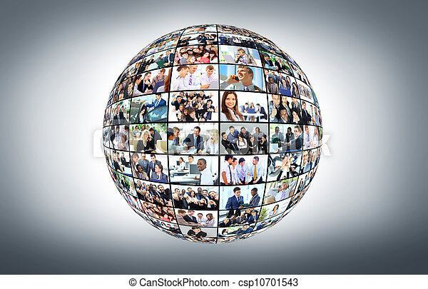 A globe is isolated on a white background with many different business people - csp10701543