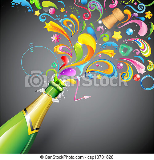 Illustration Vecteur de fête, explosion - Illustration, de, coloré ...
