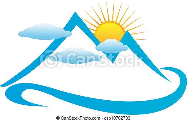 Blue cloudy mountains logo vector - csp10702733