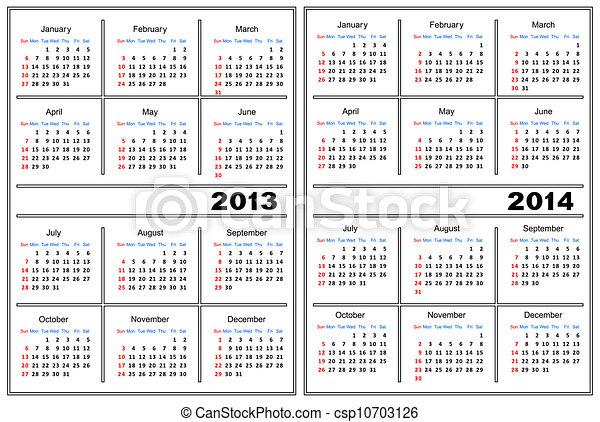 2013,  2014, Kalendarz, Szablon - csp10703126