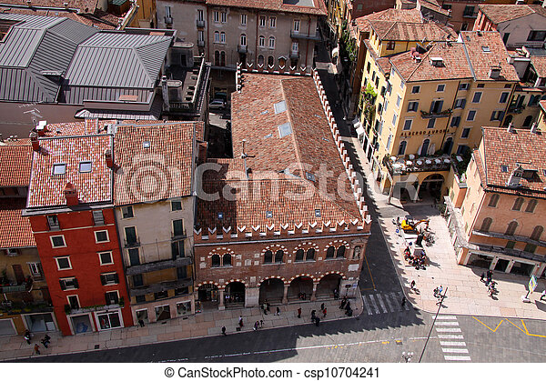 Historic Houses at the Piazza delle Erbe in Verona - csp10704241