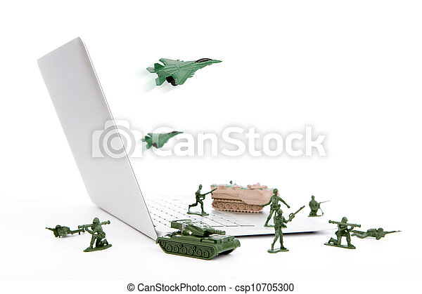 Computer security concept :  soldiers,tank,plane  are guarding a laptop from viruses, spyware and hacker - csp10705300