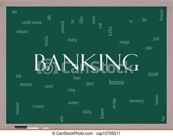 Banking Word Cloud Concept on a Blackboard - csp10705511