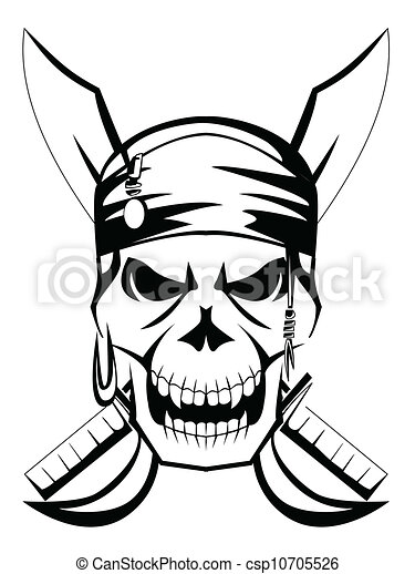 Vector Illustration of pirate skull sword csp10705526 - Search ...