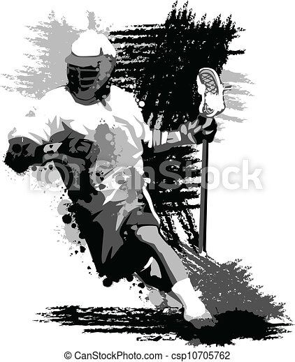 Lacrosse Player Splatter Vector Illustration - csp10705762