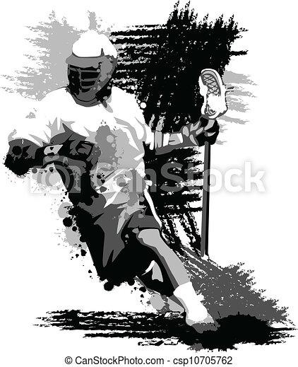 Lacrosse Player Splatter Vector Illustration - csp10705762