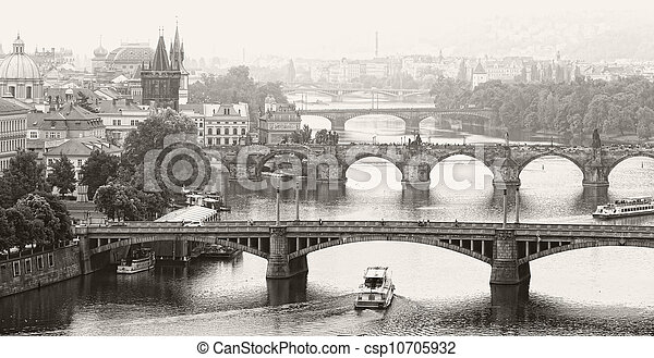 Prague, view of the Vltava River and bridges in a morning fog - csp10705932